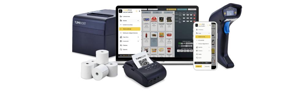 impresora, computadora, celular, impresora portátil, rollos de papel térmica y lectora de código de barras con aplicativo de Tumipos abierta