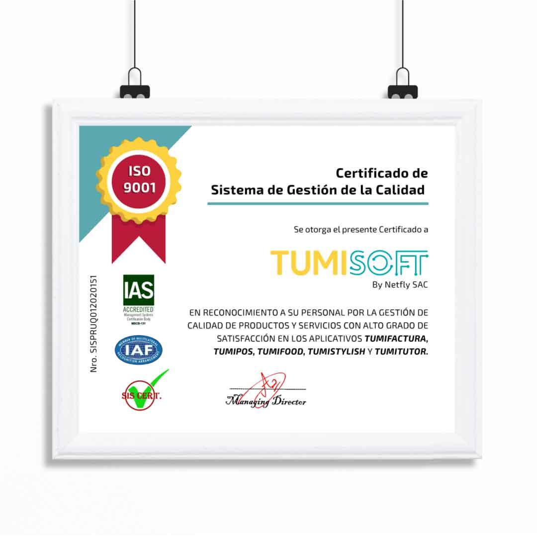 CERTIFICADO EN CALIDAD ISO 9001