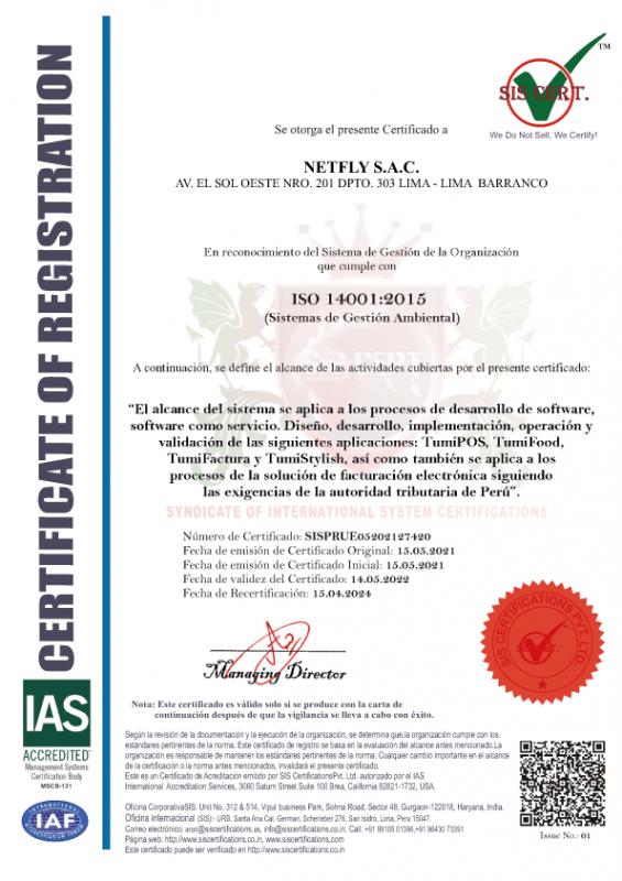 certificado ambiental de tumisoft