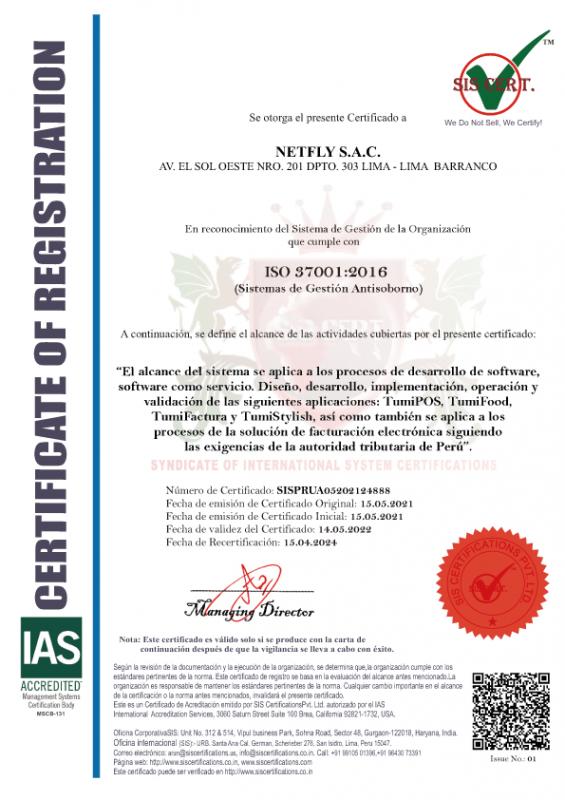 certificación antisobornos tumisoft