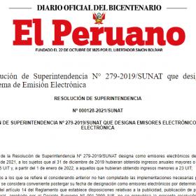 portada diario el peruano resolución sunat